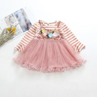 Baby/ Toddler Girl's Striped Floral Embroidery Tulle Dress