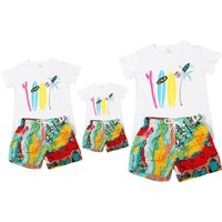 Trendy Surfboard Print Short-sleeve T-shirt and Short Family Matching