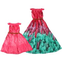 Feathers Printed Ruffled-Collar Mom and Me Beach Dress in Hot Pink