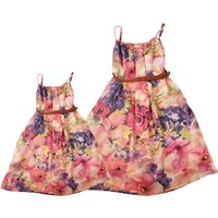 Vibrant Floral Printed Sleeveless Mom and Me Dress in Pink