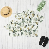 Casual Pineapple Print Short-sleeve Shirt for Daddy and Me