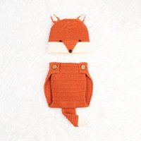 Adorable Fox Design Knit Pantie and Hat Costume Set for Baby