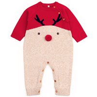 Baby's Christmas Reindeer Design Long Sleeves Knit Jumpsuit