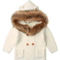 Cute Solid Ear Decor Hooded Fur Knit Jacket for Baby