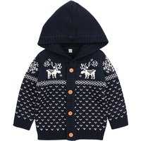 Cute Deer Graphic Hooded Knit Sweater for Baby Boy