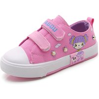 Lovely Printed Pearl Decor Velcro Canvas Shoes for Girl