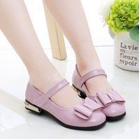 Elegant Solid Bow Decor PU Leather Flats for Toddler Girl and Girl