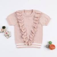 Sweet Ruffled Short-sleeve Knitted Top for Baby and Toddler Girl