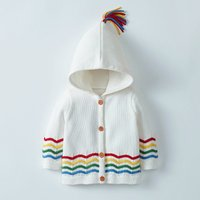 Cute Rainbow Wave Striped Hooded Knitted Coat for Baby