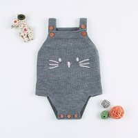 Comfy Bunny Pompom Decor Knitted Bodysuit for Baby