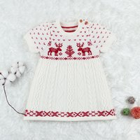 Stylish Christmas Deer and Small Hear Pattern Cable Stitch Knitted Dress