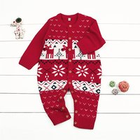 Baby Knitted Deer and Snowflake Jumpsuit