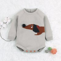 Baby Knitted Dog Pattern Long-sleeve Bodysuit