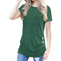 Casual Solid Button Decor Short-sleeve Tee for Women