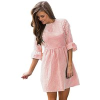 Stylish Striped Cinched Ruffled Half-sleeve Dress for Women