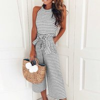 Chic Striped Sleeveless Jumpsuit with Belt for Women