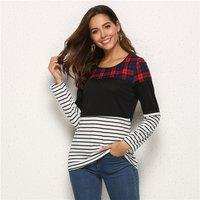Fashionable Plaid Striped Contrast Top