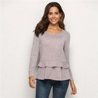 Fashionable Solid Ruffled Tee