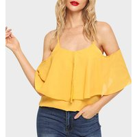 Stylish Solid Cold Shoulder Tank Top