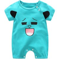 Lovely Smile Face Print Short-sleeve Jumpsuit for Toddlers