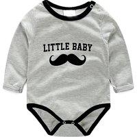 Comfy Mustache Print Long-sleeve Bodysuit in Dark Grey for Baby Boy