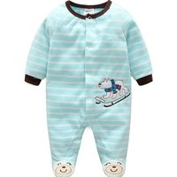 Fashionable Polar Bear Embroidered Striped Footed Jumpsuit for Baby Boy
