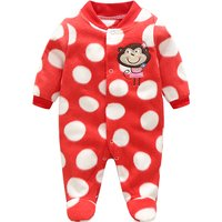 Cute Monkey Embroidered Polka Dots Footed Jumpsuit for Baby Girl