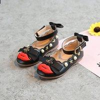 Pretty Lip Design Bow and Rivet Decor Velcro Shoes