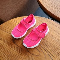 Breathable Solid Hollow Out Mesh Velcro Shoes for Kid