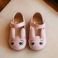 Cute Rabbit Design Velcro Flats for Toddler Girl and Girl
