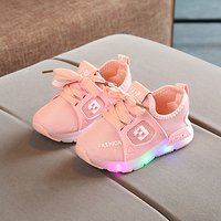 Toddler's Breathable LED Lace-up Running Shoes