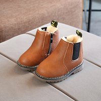 Warm Solid Fleece-lining Ankle Boots for Toddler Boy and Boy