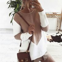 Contrast Knitted Long-sleeve Pullover