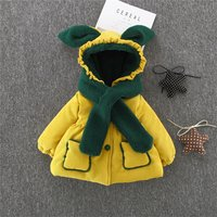 2-piece Casual Long-sleeve Hooded  Coat and Scarf Set
