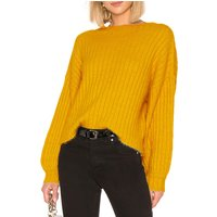 Pretty Solid Puff-sleeve Pullover