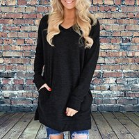 Trendy Solid Long-sleeve Dress
