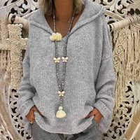 Pretty Solid Loose Hooded Pullover