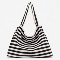Casual Striped Canvas Shoulder Bag