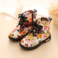 Toddler Girl's Lace-up Floral Martin Boots