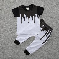 2-piece Cool Color Block T-shirt and Pants for Toddler Boy