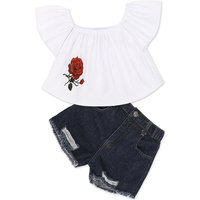 Pretty Rose Print Off-shoulder Ruffled Cap-sleeve T-shirt and Frayed Denim Shorts Set in White for B