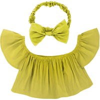 Chic Off Shoulder Flounce Top and Bow Headband for Baby Girl