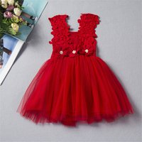 Charming Floral Applique Strap Tulle Dress in Red for Girls