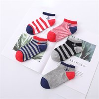 5-piece Striped Color-blocking Ankle Socks for Toddler Boys and Boys