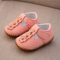 Sweet Flower and Rivet Decor Velcro Flats for Toddler Girl
