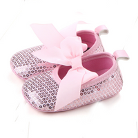 Trendy Solid Sequined Bow Decor Crib Flats for Baby and Toddler