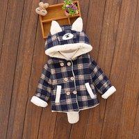 Warm Plaid Bear Ears Design Hooded Coat for Baby