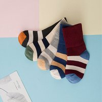 5-pair Stylish Color Blocked Ribbed Cuffs  Socks