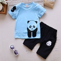 Lovely Panda Print Tee and Shorts Set for Toddler Boy