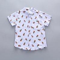 Trendy Pineapple Print Short-sleeve Shirt for Toddler Boy and Boy
